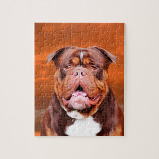 Bulldog Watercolor Art Portrait Jigsaw Puzzle