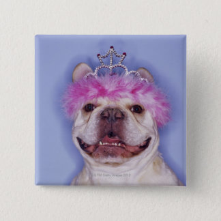 Bulldog wearing tiara 2 inch square button