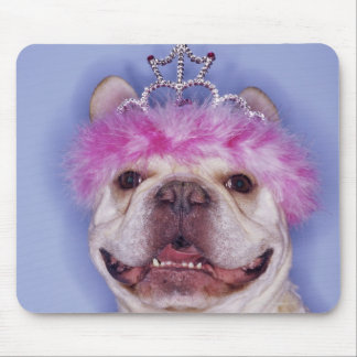 Bulldog wearing tiara mouse pad