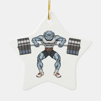 bulldog weight lifter ceramic star ornament