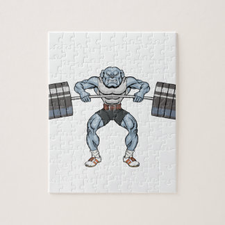 bulldog weight lifter jigsaw puzzle