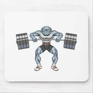 bulldog weight lifter mouse pad