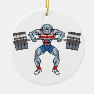 bulldog weight lifter round ceramic ornament