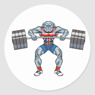 bulldog weight lifter round sticker