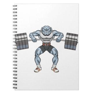 bulldog weight lifter spiral notebook