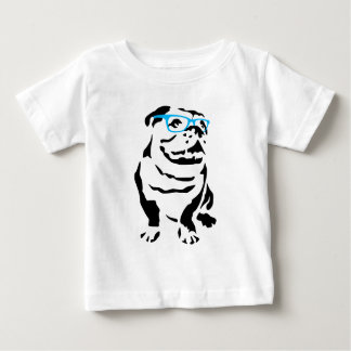 Bulldog with Blue Glasses Baby T-Shirt