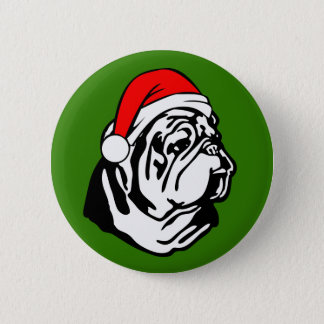 Bulldog with Christmas Santa Hat 2 Inch Round Button