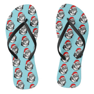 Bulldog with Christmas Santa Hat Pattern Flip Flops