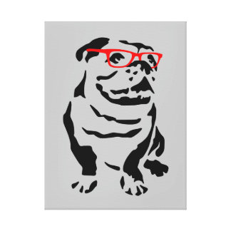 Bulldog with Red Glasses Canvas Print