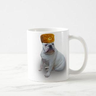 Bulldog with Russian fur hat Coffee Mug