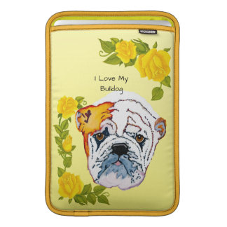 Bulldog with Yellow Rose MacBook Air Sleeves