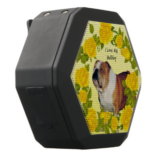 Bulldog with Yellow Roses Black Bluetooth Speaker