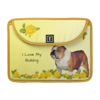 Bulldog with Yellow Roses Sleeve For MacBooks