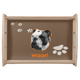 Bulldog Wooden Small Serving Tray Woof