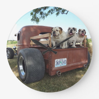 Bulldogs and Rat Rods Large Clock