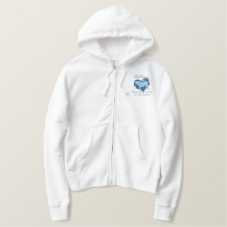 Bulldogs Leave Paw Prints Blue Embroidered Hoodie