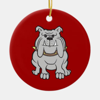 Bulldogs Mascot on Red Dog Lover Gifts Ceramic Ornament
