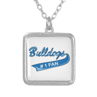 BULLDOGS NUMBER ONE FAN SQUARE PENDANT NECKLACE