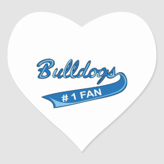 BULLDOGS NUMBER ONE FAN HEART STICKER