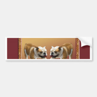 Bulldogs on Asian Design Chinese New Year, Dog Bumper Sticker