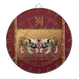 Bulldogs on Asian Design Chinese New Year, Dog Dartboard