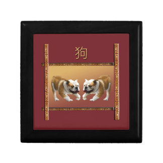 Bulldogs on Asian Design Chinese New Year, Dog Gift Box
