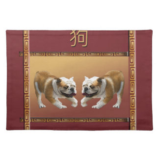 Bulldogs on Asian Design Chinese New Year, Dog Placemat