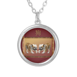 Bulldogs on Asian Design Chinese New Year, Dog Silver Plated Necklace