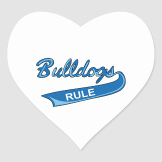 BULLDOGS RULE HEART STICKER
