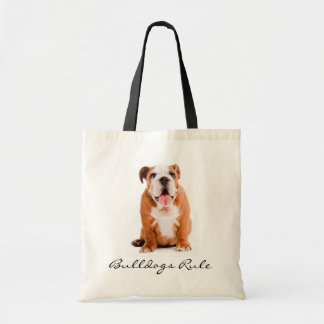 Bulldogs Rule Puppy Budget Canvas Tote Bag