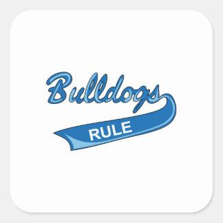 BULLDOGS RULE SQUARE STICKER