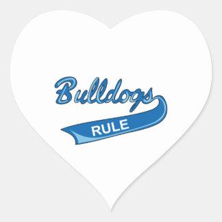 BULLDOGS RULE HEART STICKER