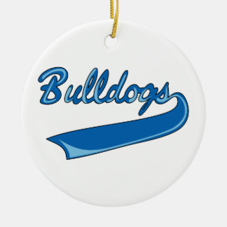 BULLDOGS SPORTS TEAM Double-Sided CERAMIC ROUND CHRISTMAS ORNAMENT