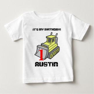 Bulldozer Birthday Tee, customizable Baby T-Shirt