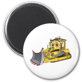 Bulldozer Cartoon 2 Inch Round Magnet