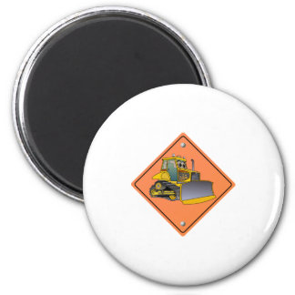 Bulldozer Cartoon Construction Sign 2 Inch Round Magnet