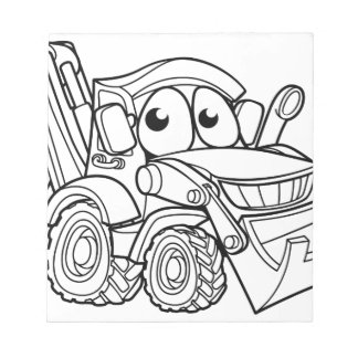Bulldozer Digger Cartoon Character Notepad
