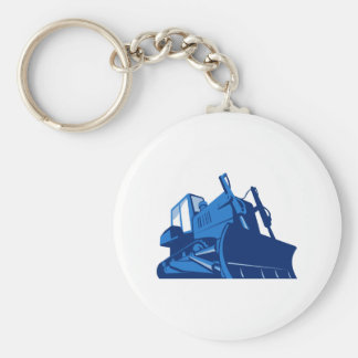 bulldozer front retro basic round button keychain