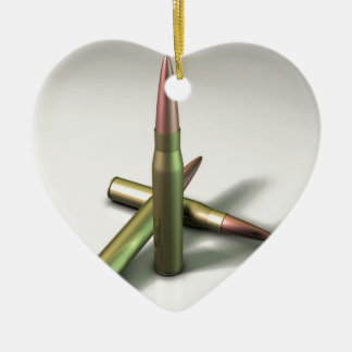 Bullet Ammo Ceramic Heart Ornament