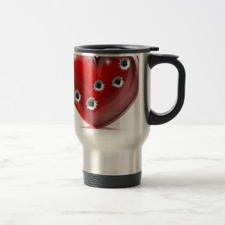 Bullet hole heart concept travel mug