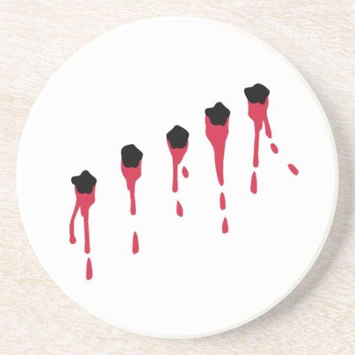 Bullet holes blood drink coaster