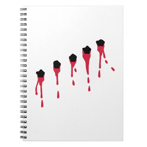 Bullet holes blood notebook