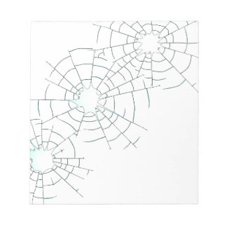 Bullet Holes in Glass Notepads