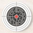 Bullet holes in target - but not the bulls-eye! coaster