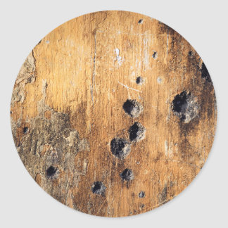 Bullet holes in wall classic round sticker