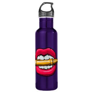 bullet in mouth. 710 ml water bottle