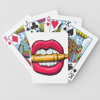 bullet in mouth. bicycle playing cards