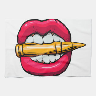 bullet in mouth. kitchen towel
