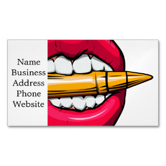 bullet in mouth. 	Magnetic business card