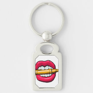 bullet in mouth. Silver-Colored rectangle keychain